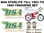 BSA Starlite 75cc 1963 to 1965 Transfer Decal Set Green